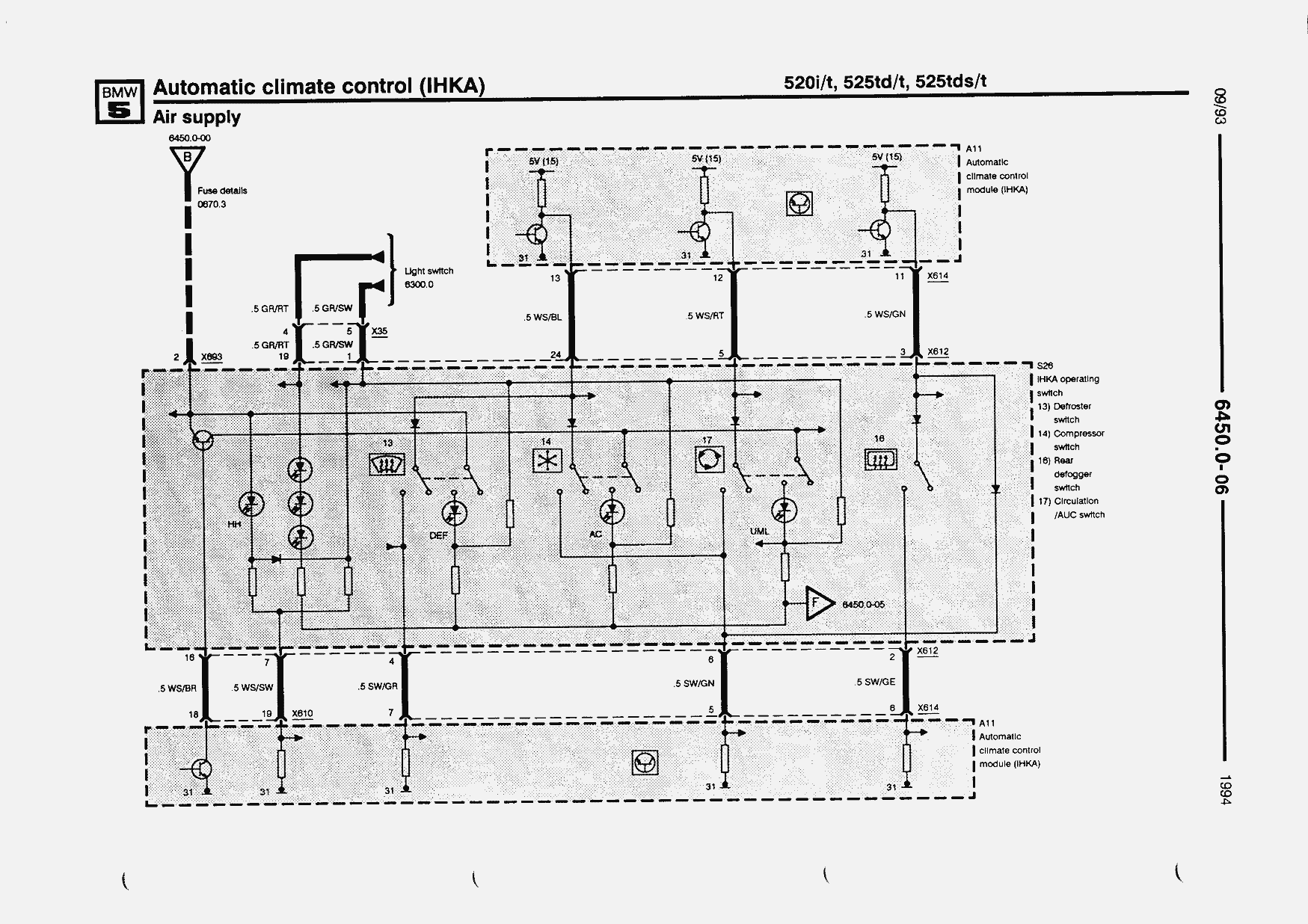 Electrical Troubleshooting Manual 5 Series E34 518i 520i 525td Wiring Diagram E Input A Output M Ground